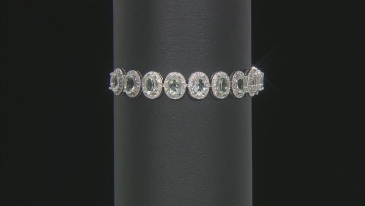 Prasiolite And White Zircon Sterling Silver Bracelet 10.51ctw