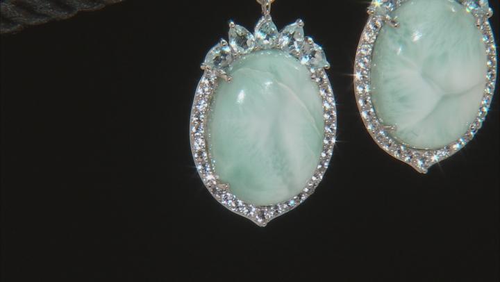 Blue Larimar Sterling Silver Dangle Earrings 4.10ctw