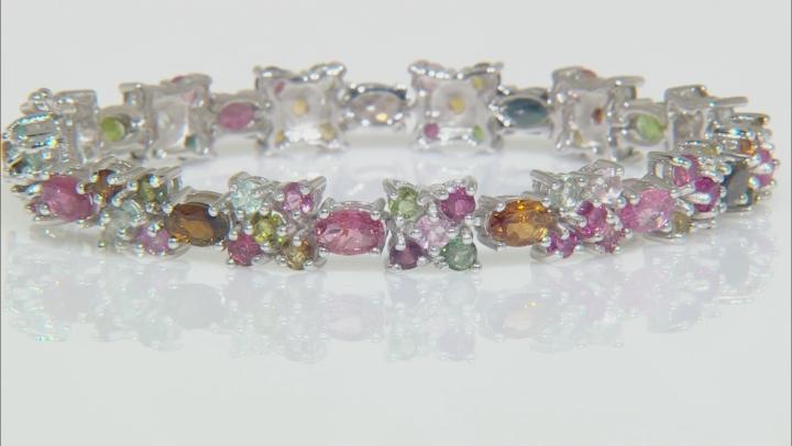 Multi-Tourmaline Rhodium Over Sterling Silver Bracelet 13.78ctw