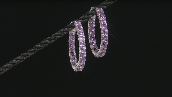 Lavender Amethyst Rhodium Over Sterling Silver Hoop Earrings 6.80ctw