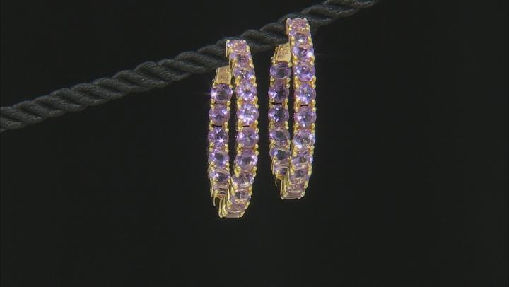 Purple amethyst 18k yellow gold over silver earrings 7.23ctw