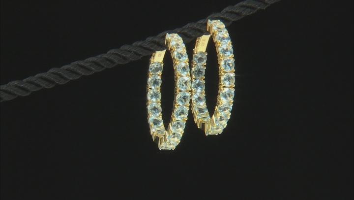 Sky Blue topaz 18k yellow gold over silver hoop earrings 9.52ctw