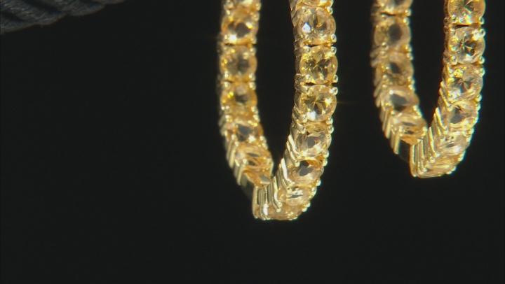 Yellow golden citrine 18k yellow gold over silver hoop earrings 7.23ctw