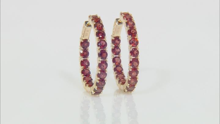 Red garnet 18k gold over silver earrings 9.83ctw