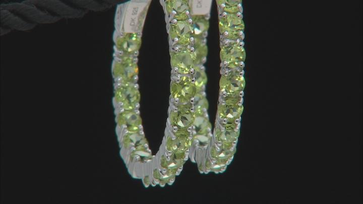 Green Peridot Sterling Silver Hoop Earrings 8.84ctw