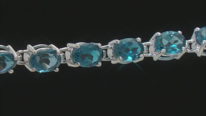 Blue Topaz Rhodium Over Sterling Silver Bracelet 17.00ctw