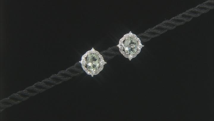 Green Prasiolite Rhodium Over Sterling Silver Earrings 3.16ctw