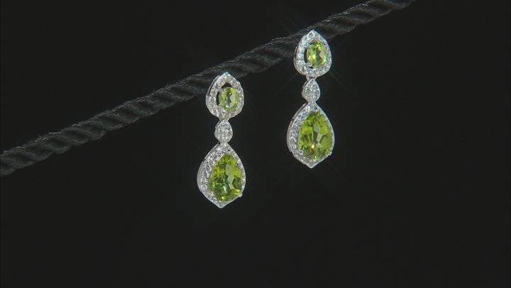 Green Peridot Rhodium Over Sterling Silver Earrings 6.10ctw