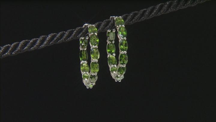Green Chrome Diopside Sterling Silver Hoop Earrings 10.50ctw