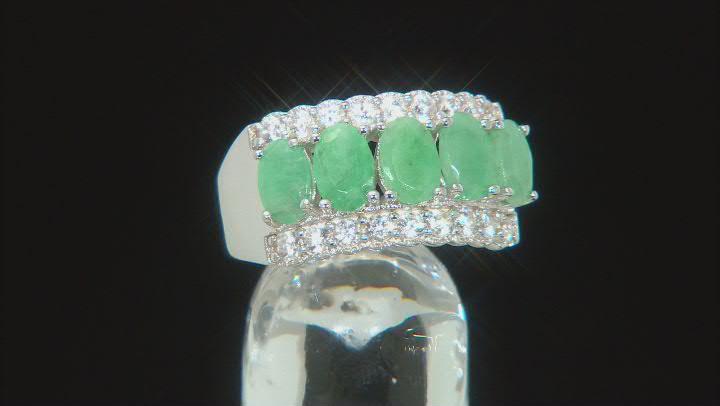Green Sakota Emerald Rhodium Over Sterling Silver Ring 2.60ctw