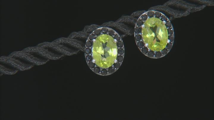 Green Peridot Rhodium Over Sterling Silver Earrings 3.40ctw