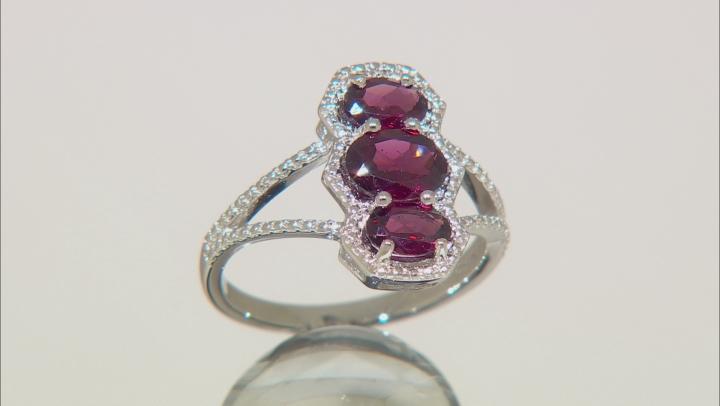 Raspberry Color Rhodolite Sterling Silver Ring 2.10ctw