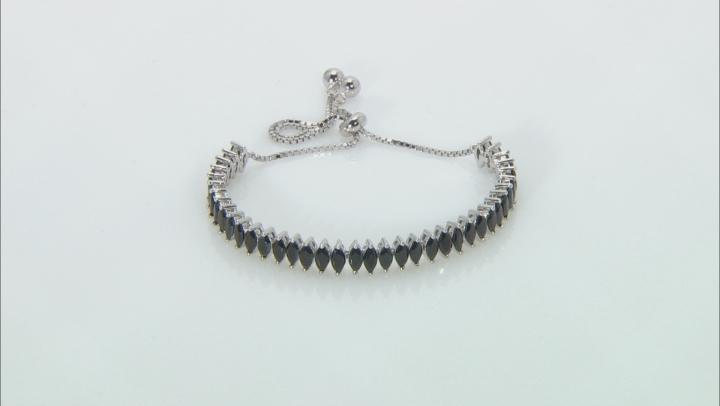 Black Spinel Sterling Silver Bolo Bracelet 6.72ctw