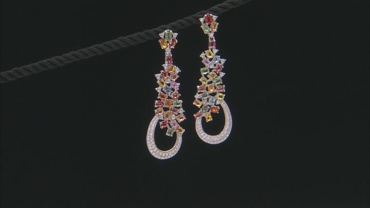Multi-Sapphire Sterling Silver Earrings 12.65ctw