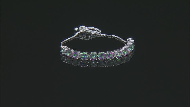 Green Mystic Topaz® Rhodium Over Sterling Silver Bolo Bracelet 10.20ctw