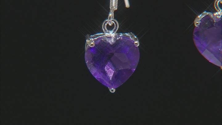 Purple African Amethyst Rhodium Over Sterling Silver Heart Shape Earrings 5.50ctw