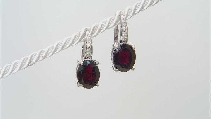 Red Garnet Sterling Silver Earrings 5.64ctw