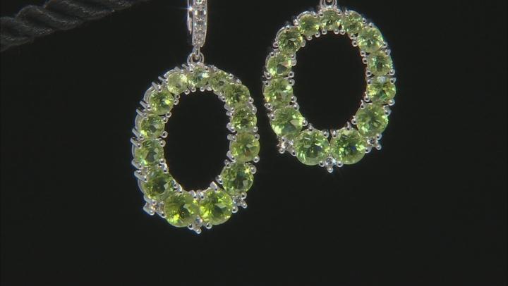 Green Peridot Rhodium Over Sterling Silver Earrings 7.69ctw