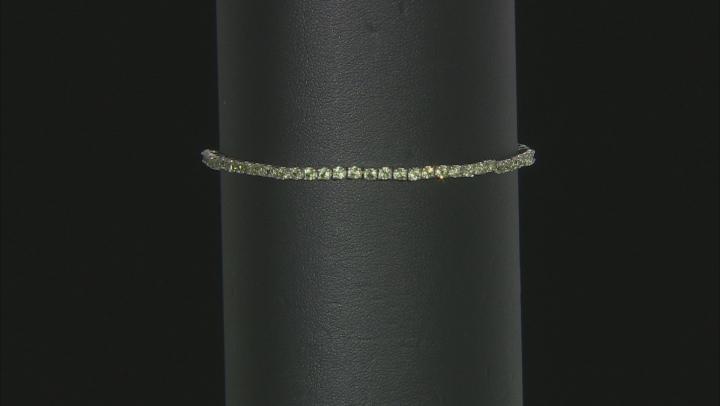 Green Peridot Rhodium Over Sterling Silver Adjustable Tennis Bracelet 3.11ctw