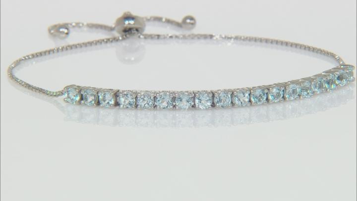 Blue Topaz Rhodium Over Sterling Silver Adjustable Bracelet 2.00ctw