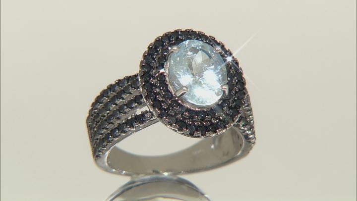 Blue Aquamarine Rhodium Over Sterling Silver Ring 2.80ctw