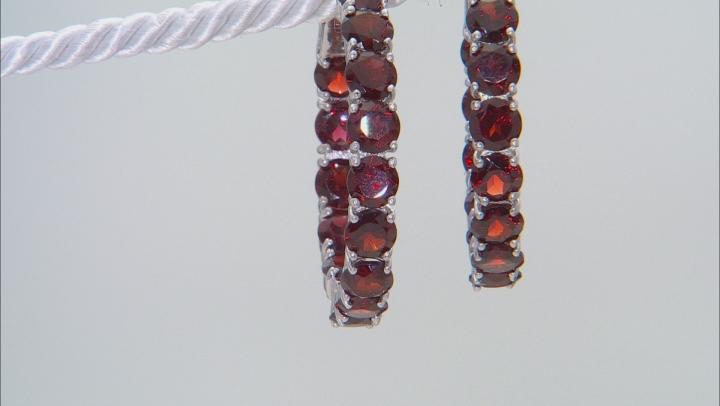 Red Garnet Rhodium Over Sterling Silver Hoop Earrings 17.37ctw