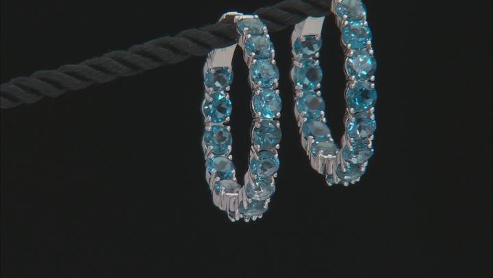 Blue Topaz Rhodium Over Sterling Silver Hoop Earrings 15.10ctw
