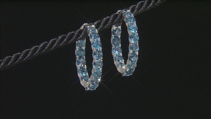 Blue Topaz Sterling Silver Hoop Earrings 15.10ctw