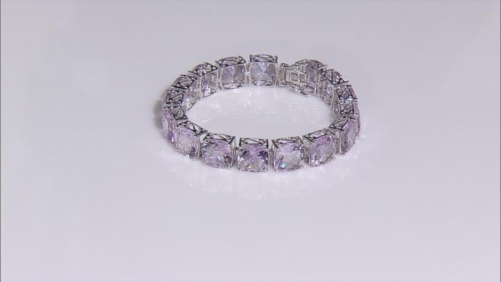 Lavender Amethyst Rhodium Over Sterling Silver Bracelet 76.00ctw