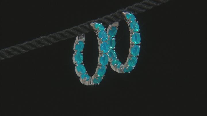 Paraiba Blue Color Ethiopian Opal Rhodium Over Sterling Silver Hoop Earrings 4.50ctw