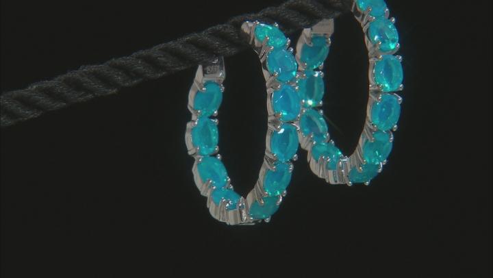 Paraiba Blue Color Ethiopian Opal Sterling Silver Hoop Earrings 4.50ctw