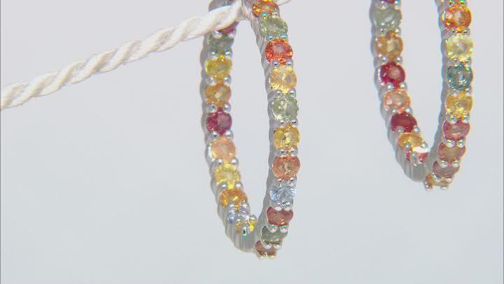 Multi Sapphire Rhodium Over Sterling Silver Hoop Earrings 5.25ctw