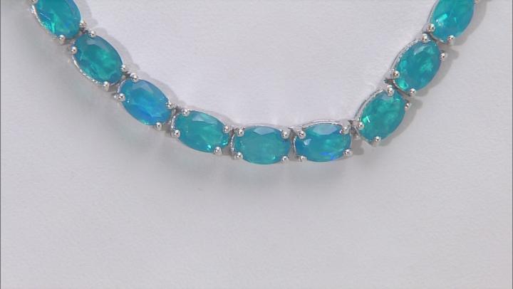 Blue Ethiopian Opal Rhodium Over Silver Tennis Necklace 19.10ctw
