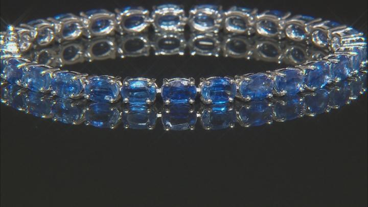 Blue Kyanite Rhodium Over Sterling Silver Tennis Bracelet 27.00ctw