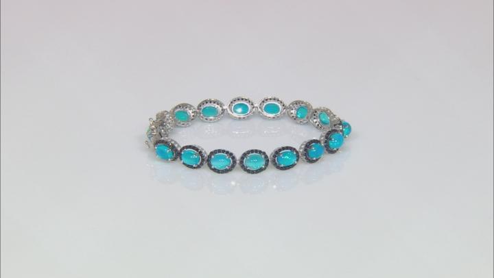 Blue Ethiopian Opal Sterling Silver Bracelet 9.40ctw