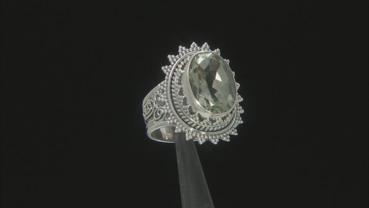 Green Prasiolite Sterling Silver Ring 5.00ct