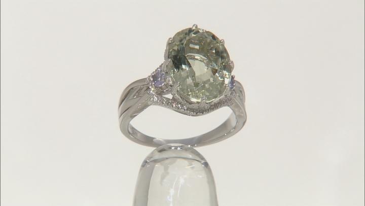 Green Prasiolite Sterling Silver Ring 8.53ctw
