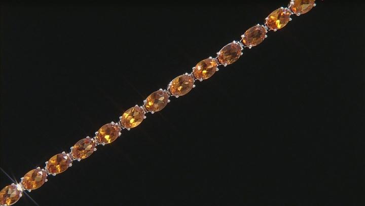 Red Hessonite Garnet Rhodium Over Sterling Silver Bracelet 22.00ctw