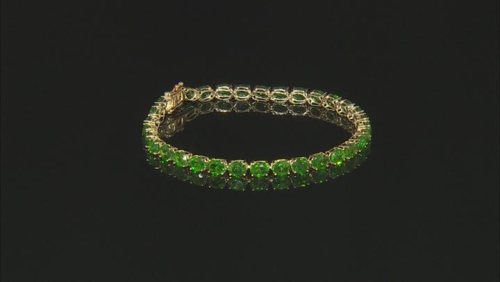 Green Chrome Diopside 10k Yellow Gold Tennis Bracelet 12.25ctw