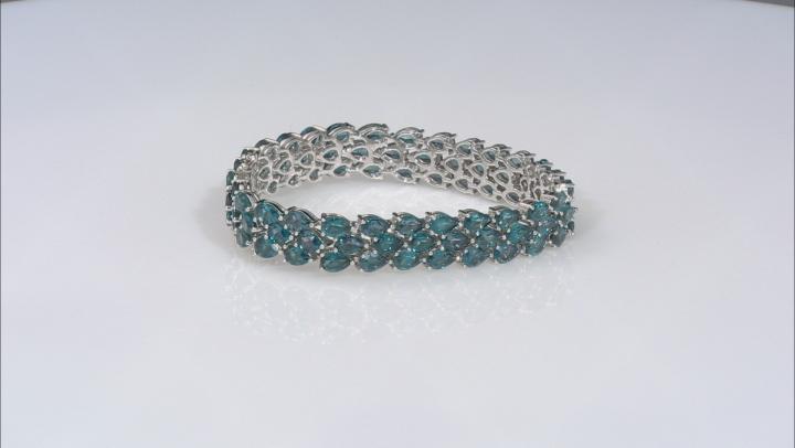 London Blue Topaz Rhodium Over Sterling Silver 3-Row Bracelet 40.00ctw
