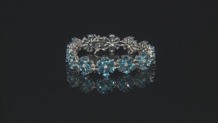 Blue Topaz Rhodium Over Silver Bracelet 32.51ctw