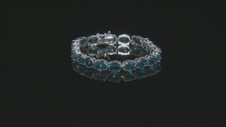 Blue Topaz Sterling Silver Line Bracelet 44.00ctw