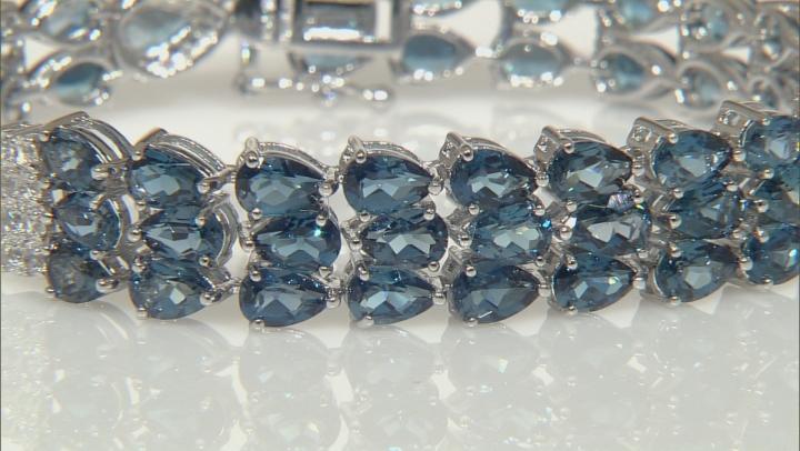 London Blue Topaz Rhodium Over Sterling Silver Bracelet 27.14ctw