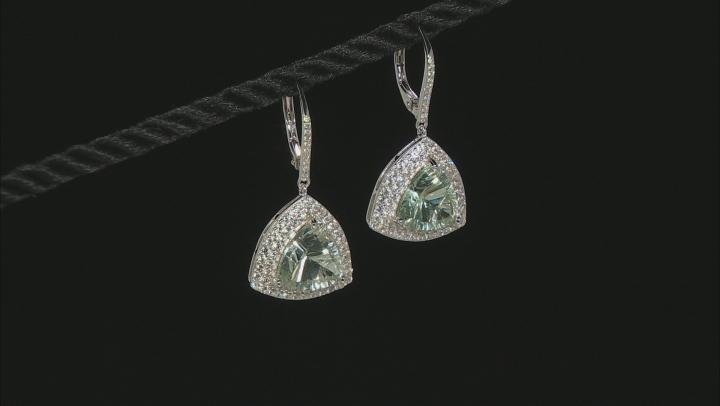 Green prasiolite sterling silver earrings 7.15ctw