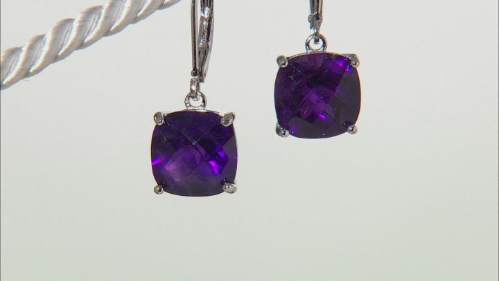 Purple African Amethyst Sterling Silver Earrings 6.50ctw