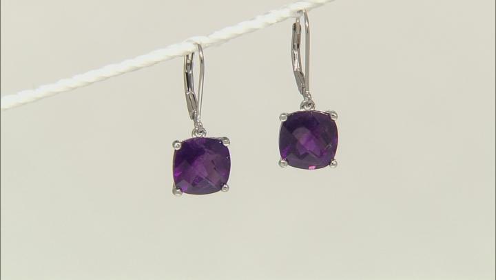 Purple African Amethyst Rhodium Over Sterling Silver Earrings 6.50ctw