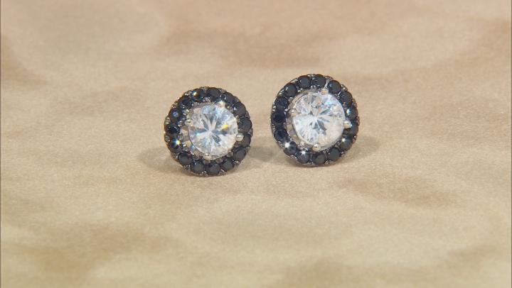 White zircon silver stud earrings 4.13ctw