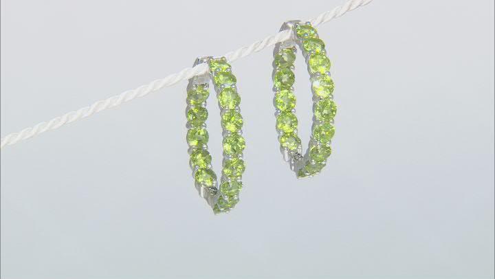 Green Peridot inside-Outside Rhodium Over Sterling Silver Hoop Earrings 15.70ctw