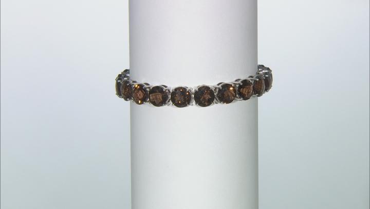 Smoky Quartz Rhodium Over Sterling Silver Tennis Bracelet 33.00ctw