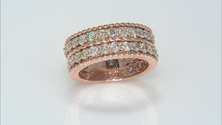 White Diamond 14K Rose Gold Eternity Band Ring 2.50ctw